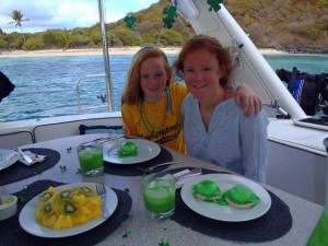 Yacht charter chef Dawn Mottram of Sailing Yacht Braveheart cooks up Green Eggs and Ham for St. Patricks Day