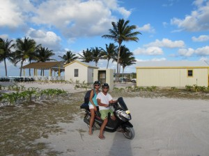 Guests rent motor scooters to explore the sandy trails of Anegada