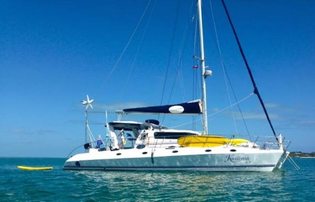Learn to Free dive with Young Captain Marcus aboard KARIZMA in the Virgin Islands 53' Royal Cape Catamaran, 2009