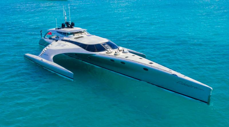 140' trimaran power cat ADASTRA for charter in Phuket, Thailand, Southeast Asia